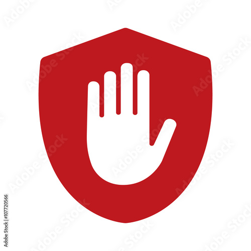 Shield with hand block / adblock flat icon for apps and websites Fototapet