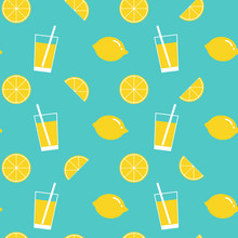 Lemon And Lemonade Seamless Pattern Background