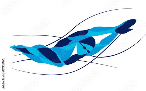 Fotografía  Trendy stylized illustration movement, freestyle swimmer silhouette, line vector