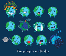 Set Of Cute Cartoon Globes With Different Emotions
