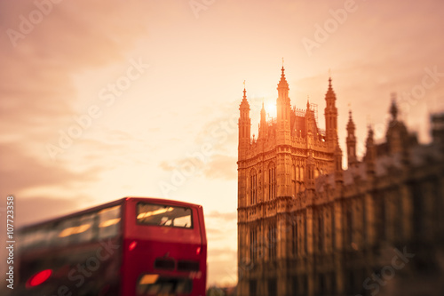 Fotografie, Tablou  Bus in London against Westminster building