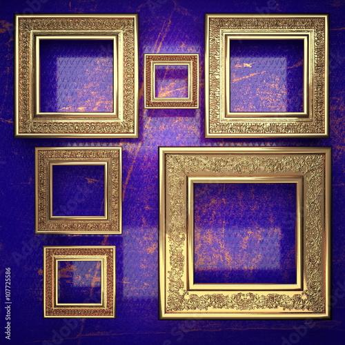 Fototapeta golden background painted in blue. 3D illustration obraz na płótnie