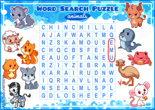 Fotografía  Educational game for kids. Word search puzzle.