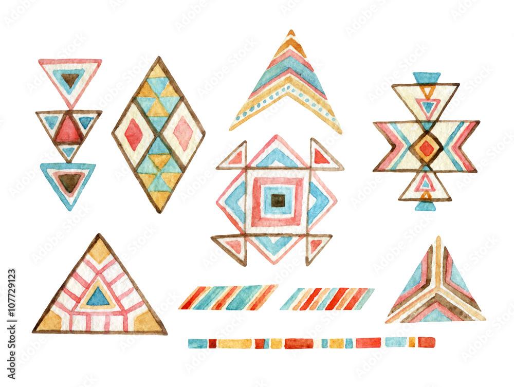 Watercolor tribal elements set for ethnic design