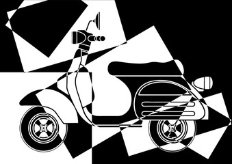 Fototapeta Motor Scooter en noir et en blanc