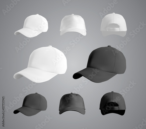 Stampa su Tela  Baseball cap black and white templates, front, side, back views set, vector eps1