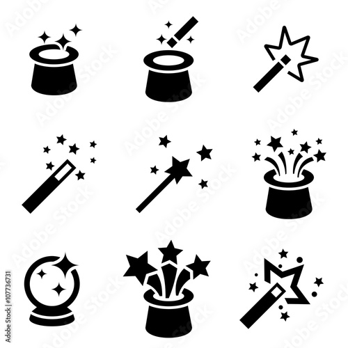 Foto Vector black magic icons set