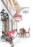 Series of backgrounds decorated with flowers, old town views and street cafes. - 107741598