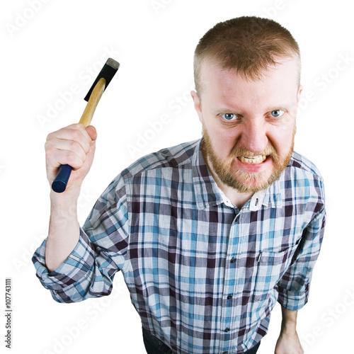 Fotografía  Angry man swings a big hammer