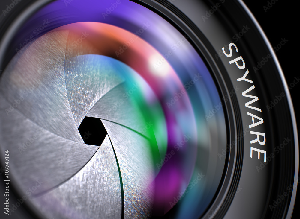 Fototapeta Spyware - Concept on Lens of Camera with Colored Lens Reflection, Closeup. Closeup Photo Lens with Pink and Green Reflection and Inscription Spyware. Front of Lens with Spyware Concept. 3D.