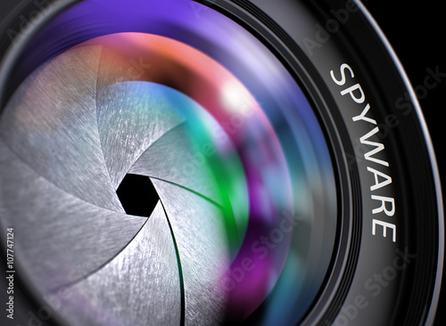 Fotografía  Spyware - Concept on Lens of Camera with Colored Lens Reflection, Closeup