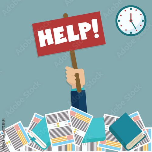 Fotografie, Obraz  Businessman needs help under a lot of documents and holding a HELP placard