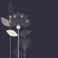 Three Abstract Lotus Flower On The Dark Purple Backround Vector
