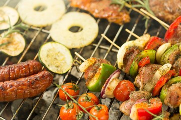 FototapetaVarious food on the grill