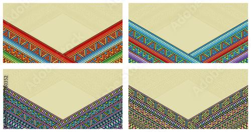 Foto auf AluDibond Boho-Stil Bright ethnic frame at set. Abstract background with bright ethnic ornament border for special design.