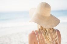 Blonde Woman Posing On The Beach