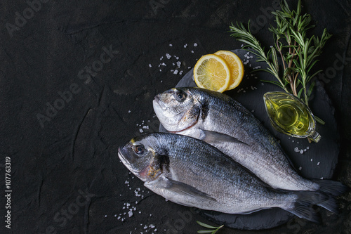 Poster Fish Raw bream fish with herbs