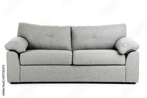 Grey sofa isolated on a white background Billede på lærred