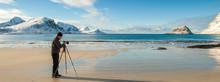 Photographer Is Working At Lofoten Island