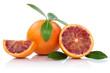 canvas print picture - Blutorange Blutorangen Frucht mit Blätter geschnitten Freistell