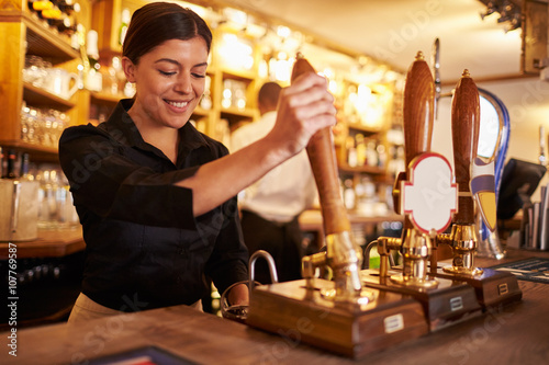 A young woman working behind a bar preparing drinks Wallpaper Mural