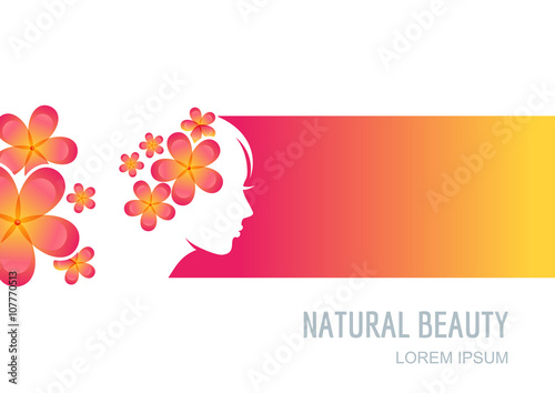 Female Face On Colorful Background Woman With Flowers In Hair Vector Label Package Background Banner Flyer Design Elements Trendy Concept For Beauty Salon Massage Spa Natural Cosmetics Buy This Stock Vector
