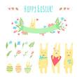 Happy Easter vector set - bunnies, eggs, flowers, ribbon, flower, etc.