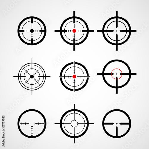 Photo  Crosshair (gun sight), target icons set