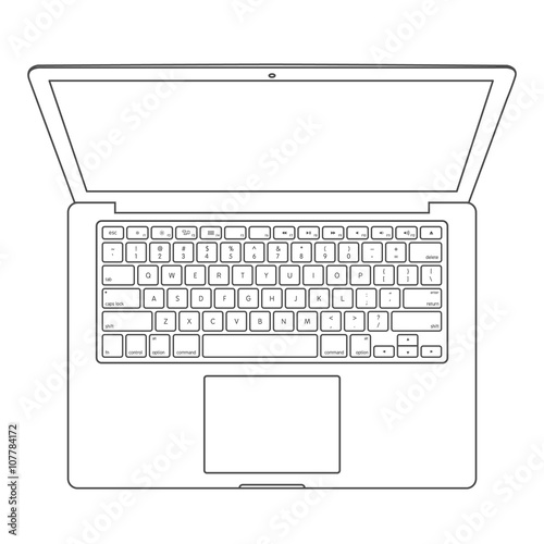 Top view of blank laptop computer with keyboard layout