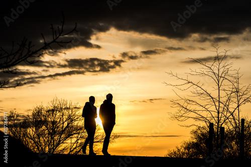Fototapeta Silhouettes of people enjoying a walk during sunset obraz na płótnie