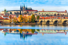 Prague, Charles Bridge, The Castle And St. Vitus Cathedral.