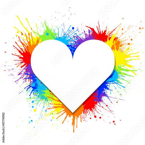 Tuinposter Vormen Heart shaped white banner on rainbow paint splashes background. Vector illustration.