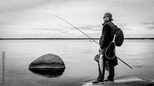 Printed kitchen splashbacks Fishing Monochrome fishing scenery