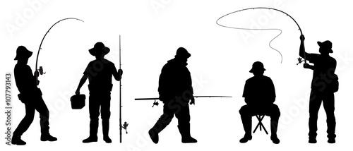 Cuadros en Lienzo fisherman2 silhouettes