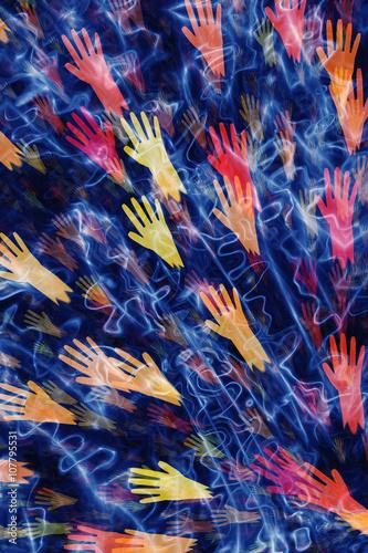 Fotobehang Paradijsvogel bloem abstract background from different open hands