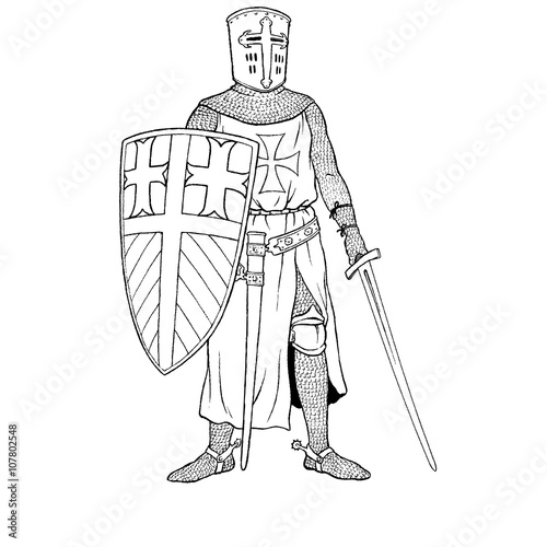 Photo  Medieval Crusader knight with axe vector silhouette. EPS 10