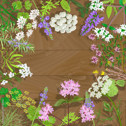 Photo  Flowering herbs on wooden background.