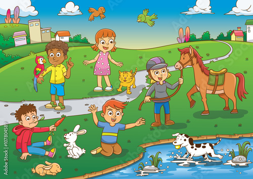 child and pet in the park cartoon