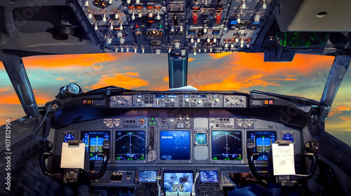 Foto cockpit Flight Deck sunset