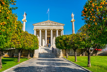 Building Of The Modern Academy Of Athens, The Highest Research Establishment Of The Country Located In Panepistimio Is One Of The Landmarks Of Athens