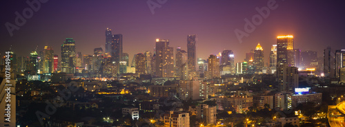 Poster Bordeaux Bangkok cityscape, View high building in the business district a