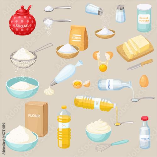 Fotografie, Obraz  Baking ingredients set