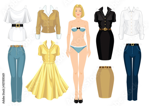 picture about Printable Paper Doll Body called Paper doll with outfits. Entire body template. Mounted of template