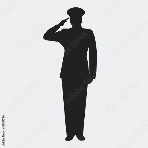 Fotografie, Tablou Illustrated Army general silhouette with hand gesture saluting