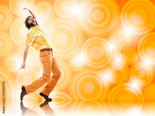 Poster  1970s vintage man dance with orange background