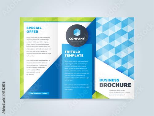 Trifold business brochure design template. Vector flyer, leaflet or ...