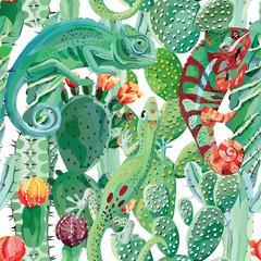 Fototapeta chameleon and cactus seamless background