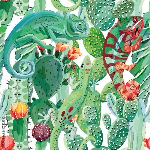 Cotton fabric chameleon and cactus seamless background