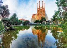 BARCELONA, SPAIN - FEB 10: View Of The Sagrada Familia, A Large