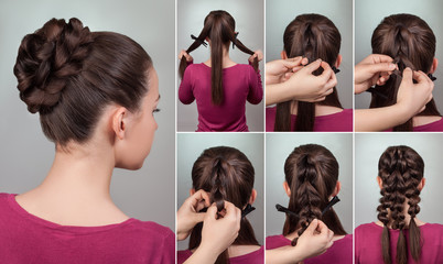 Fototapeta Do fryzjera hairstyle tutorial